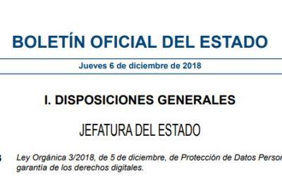 Nueva Ley de Protección de Datos y Garantía Derechos Digitales 3/2018